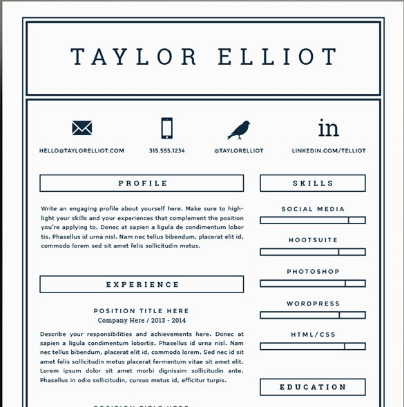 amazing one page resume template free psd latex download word 2007