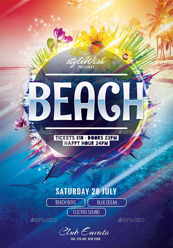 amazing psd beach flyer template 6
