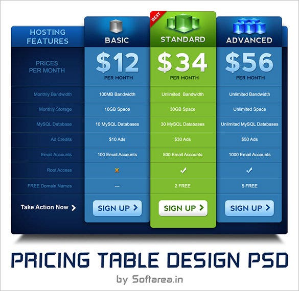 amazing psd pricing table template