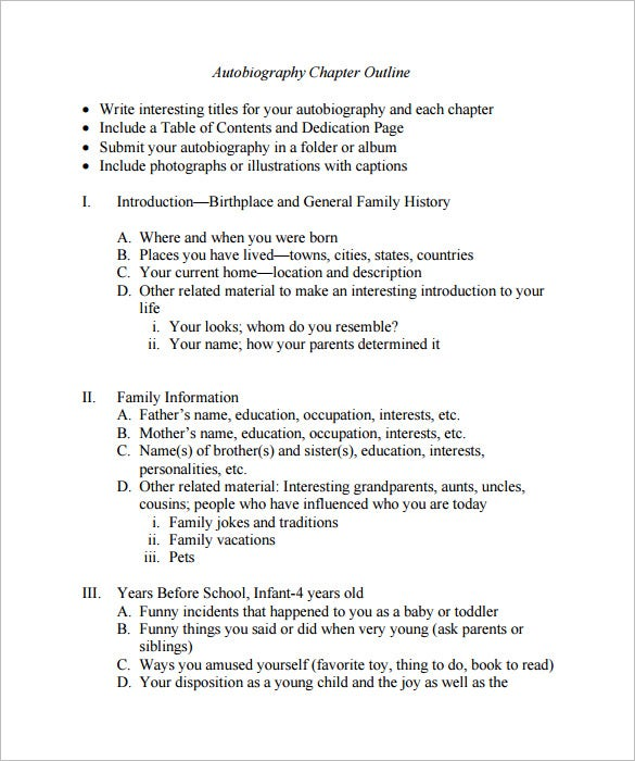 Autobiography Outline Templates  Samples  Doc Pdf  Free  An Autobiography Chapter Outline Template Example Free