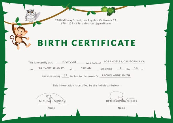 animal birth certificate indesign template