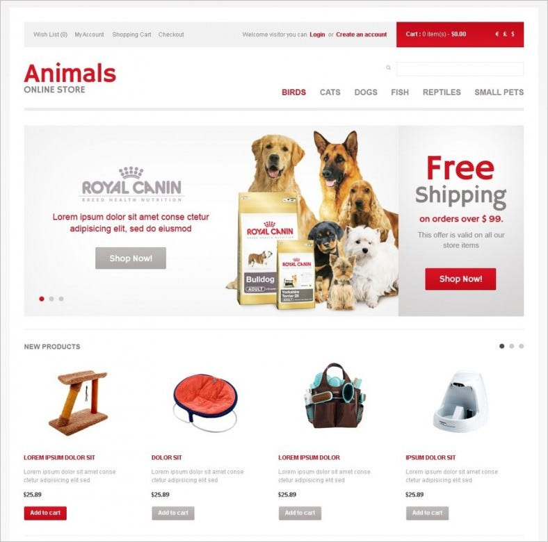 animals store opencart template 788x780