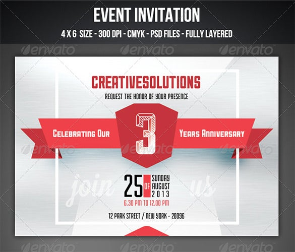 anniversay event invitation template