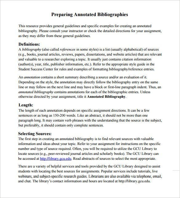 7  annotated bibliography templates  u2013 free word  u0026 pdf