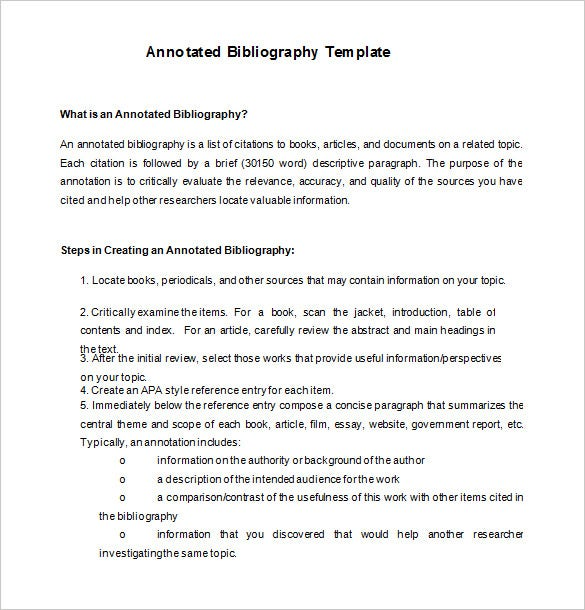 Annotated Bibliography Template Apa | 7 Annotated Bibliography Templates Free Word Pdf Format Free