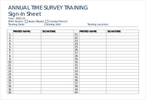 annual time survey training sign in sheet