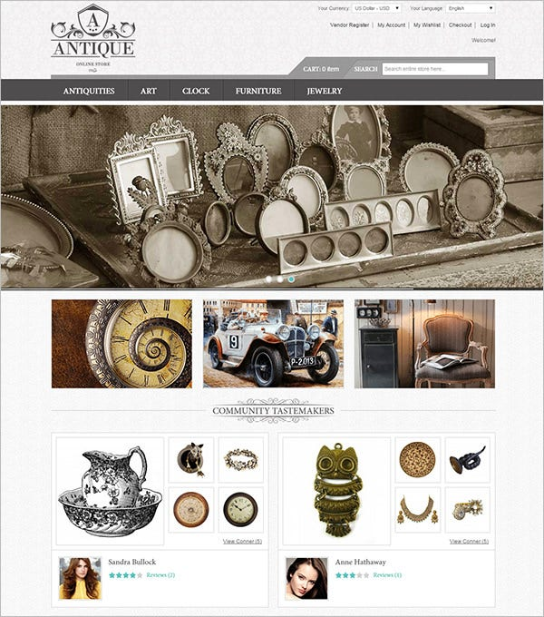 antique responsive magento theme