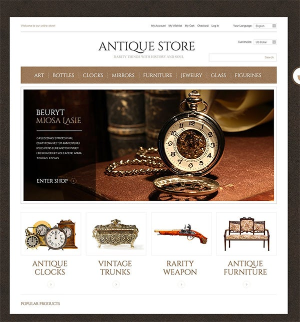 antique store magento theme 2