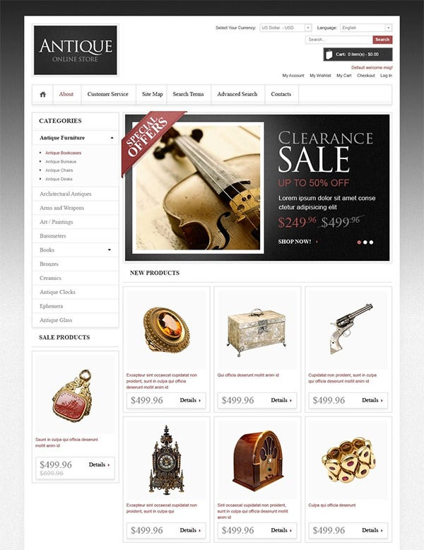 antique store magento theme 3