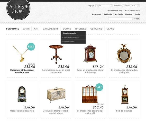 antique store magento theme 4