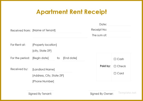 apartment rent receipt template1