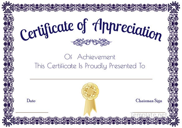 Certificate template 41 free printable word excel pdf for Certificate of appreciation template psd free download