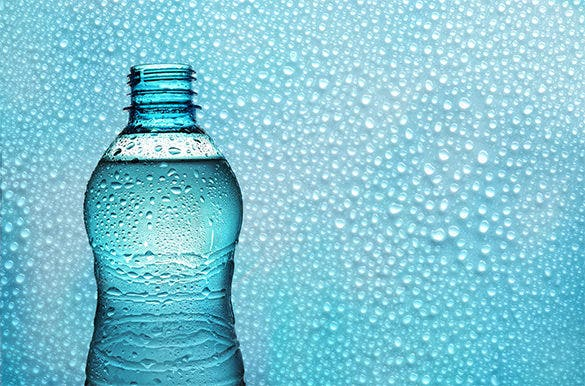 aqua bottle on water drops background