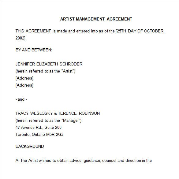 artist management agreement template in word