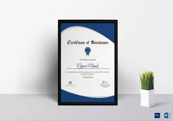 Attendance certificate templates 24 free word pdf documents attendance certificate template in psd yelopaper Image collections