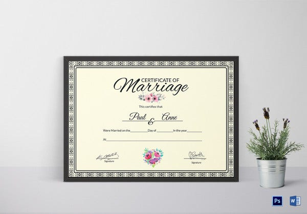 attractive marriage certificate template