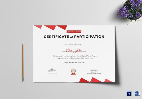 Attractive Physical Fitness Participation Certificate  Design Of Certificate Of Participation