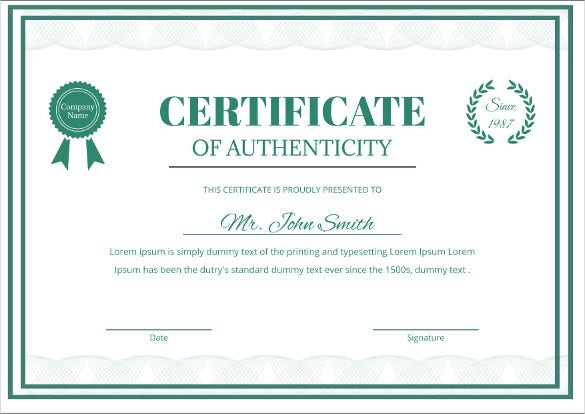 Printable certificate template 46 adobe illustrator for Certificates of authenticity templates