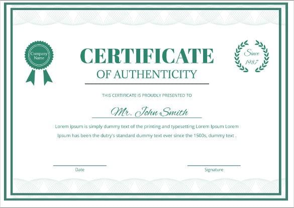 photograph regarding Printable Certificate of Authenticity named certificates of authenticity templates - Kadil