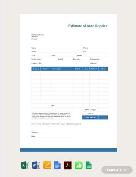 auto repair estimate template