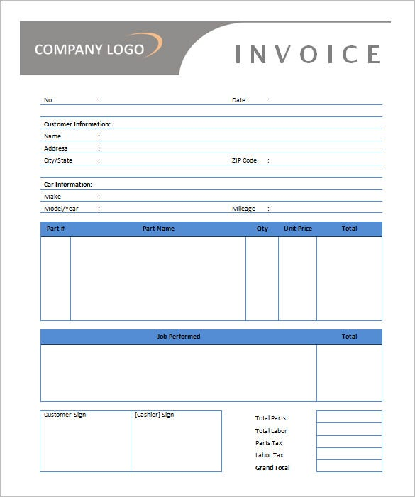 Microsoft Invoice Template 54 Free Word Excel PDF – Free Invoices Download