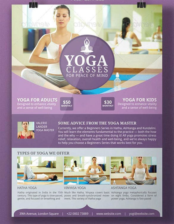 awesome fitness yoga flyer template