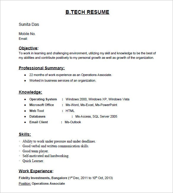 samples of resume formats resume format for tcs b tech fresher resume template