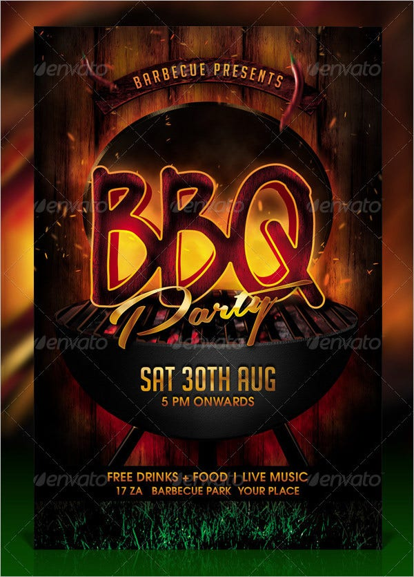 bbq barbecue party flyer template