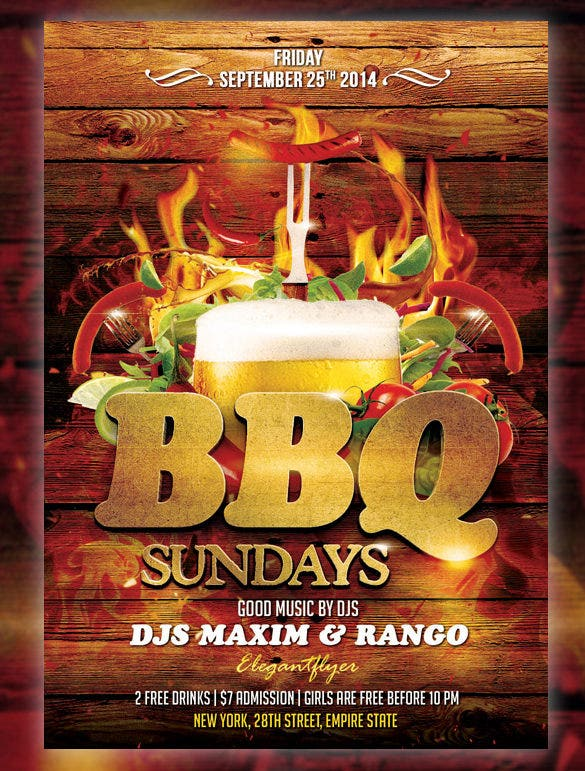 bbq flyer template free psd