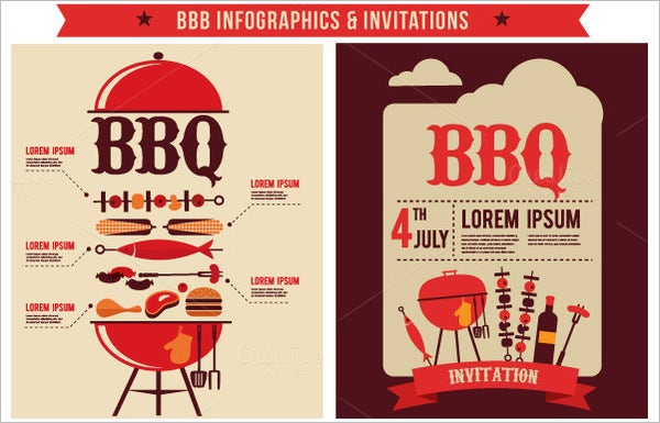 Bbq Infographics Party Invitations