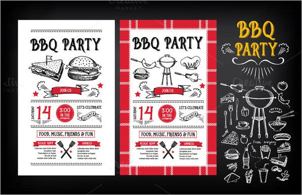 bbq party invitation all in one