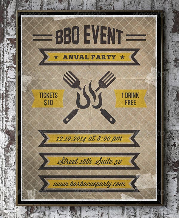 bbq party invitation template psd