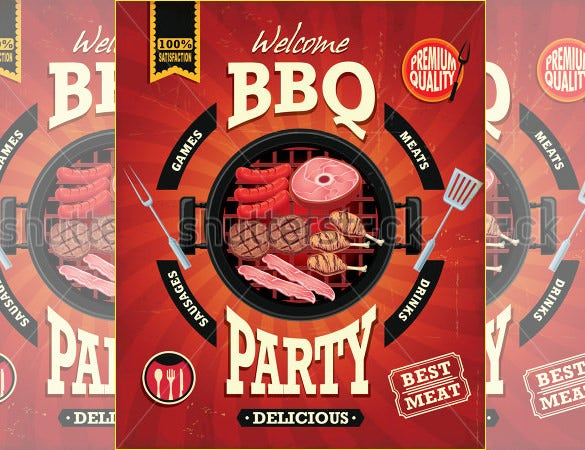 bbq party menu poster design