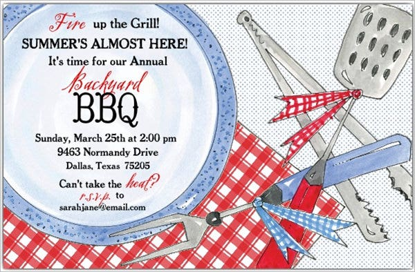 bbq plate party invitations