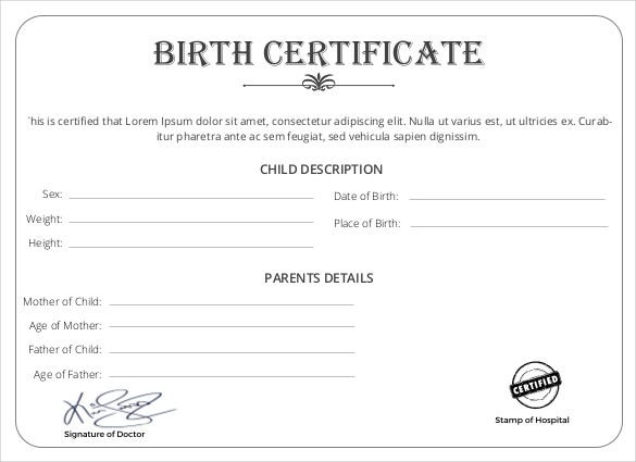 Birth Certificate Template 44 Free Word PDF PSD - oukas.info