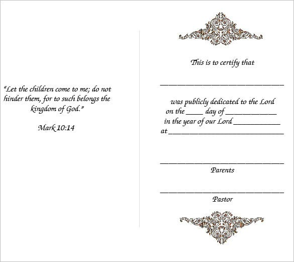Baby Dedication Certificate PDF  Baby Dedication Certificates Templates