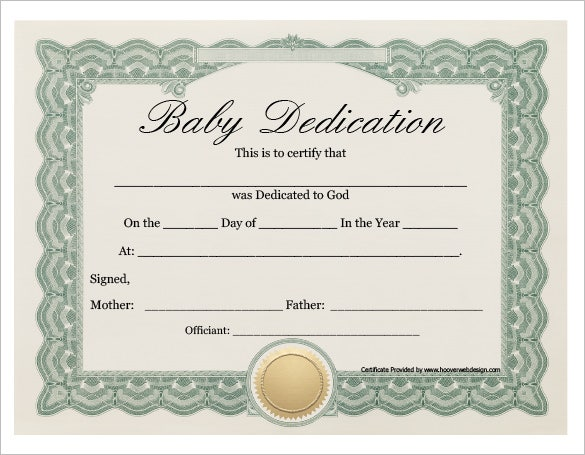 Baby Dedication Certificate Template 19 Free Word PDF – Birth Certificate Template Free Download
