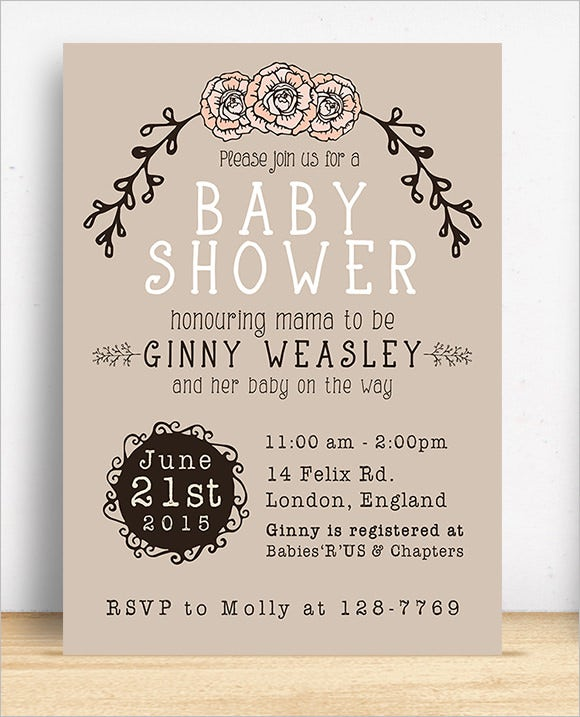 baby shower invitation psd template