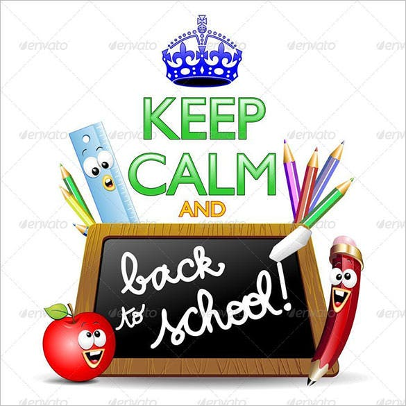 back to school keep calm poster illustration for 5