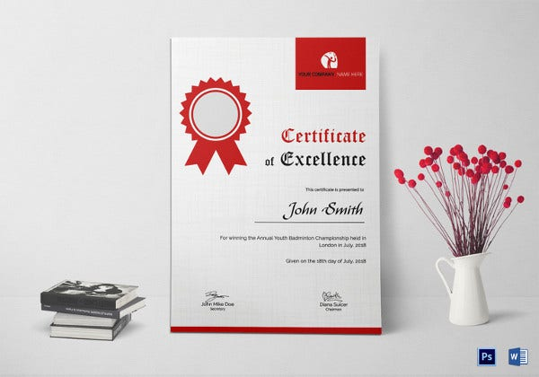badminton excellence certificate template psd