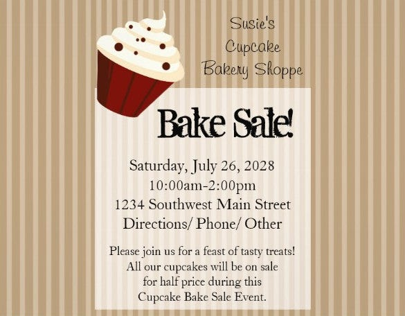 bake sale flyer template premium download
