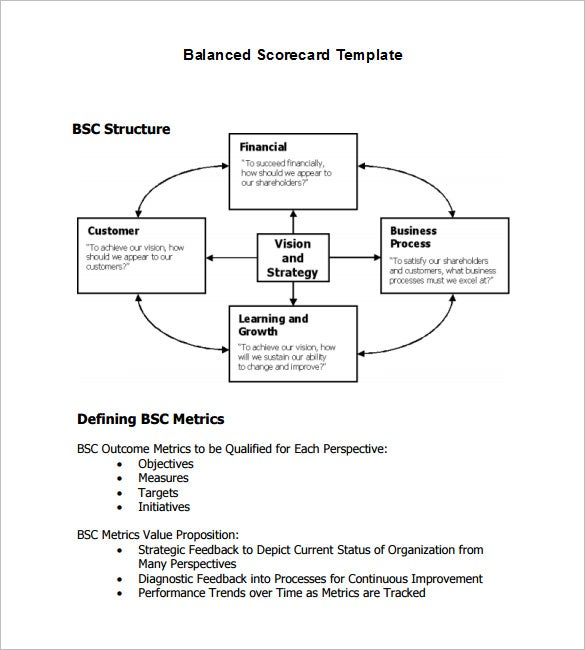 13 balanced scorecard templates pdf doc xls free premium balanced scorecard approach flashek