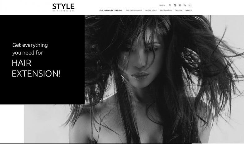 Balck & White OpenCart Template for Hair and Beauty Salon