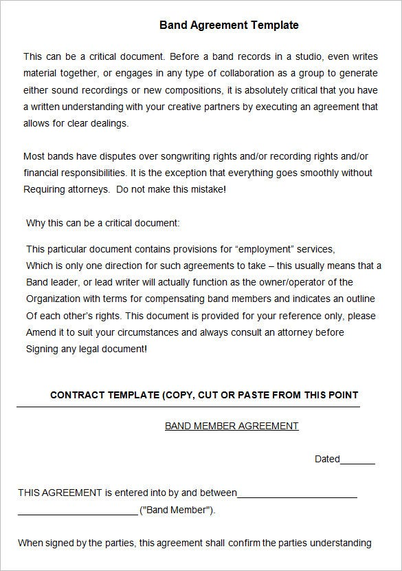 Beautiful Free Band Agreement Template DOC