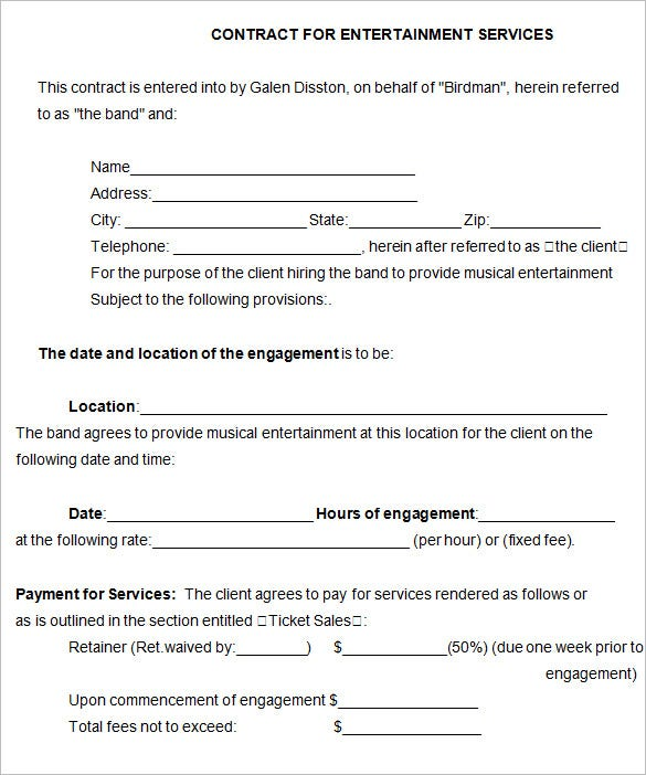 Band Contract Template 5 Free Word PDF Documents Download – Performance Contract Template
