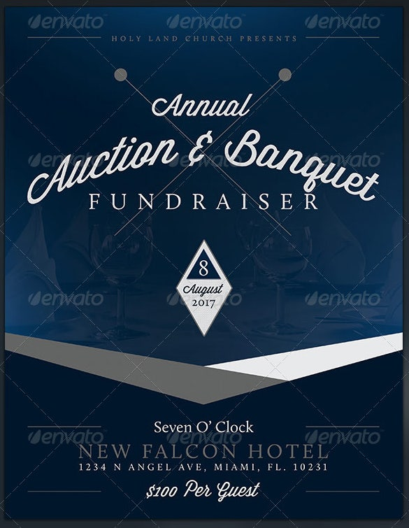 banquet fundraiser flyer template design