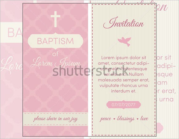 Baptism Invitation Template Pink