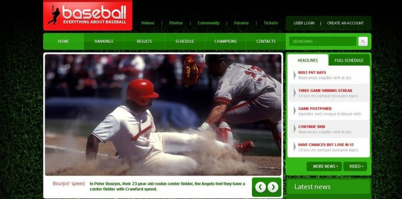 Baseball PSD Template