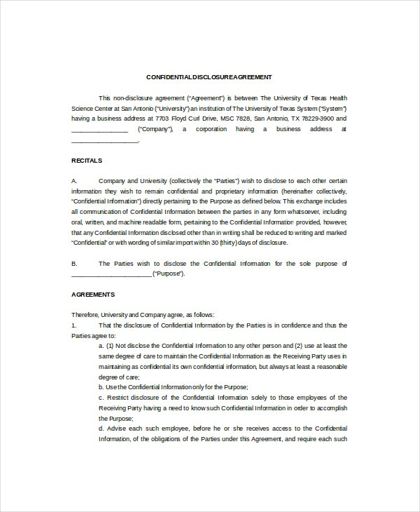 11 basic confidentiality agreement templates free for Cda agreement template