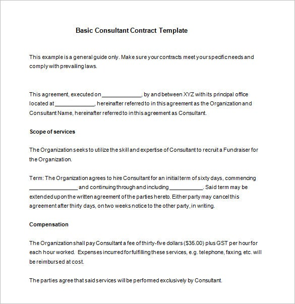 Basic Consultant Contract Template Download